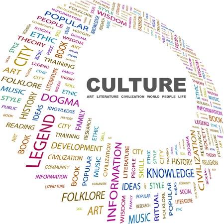 cultural diversity: CULTURA. Collage de palabra sobre fondo blanco. Ilustraci�n vectorial. Ilustraci�n con t�rminos de asociaci�n diferente.    Vectores