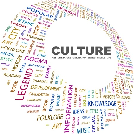 sociedade: CULTURE. Word collage on white background. Vector illustration. Illustration with different association terms.    Ilustração