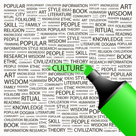 highlighter: CULTURE. Highlighter over background with different association terms. Vector illustration.