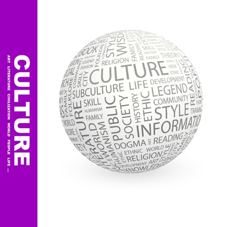 humanisme: CULTURE. Globe avec association diff�rents termes. Wordcloud vector illustration.   Illustration