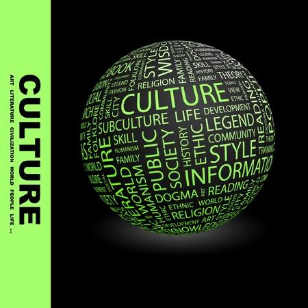 humanisme: CULTURE. Globe avec termes diff�rents association. Wordcloud, illustration vectorielle.