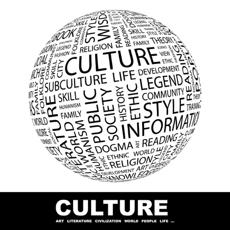 CULTURE. Globe with different association terms. Wordcloud vector illustration.
