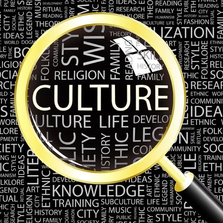 diversidad cultural: CULTURA. Lupa sobre fondo con t�rminos de asociaci�n diferente. Ilustraci�n vectorial.
