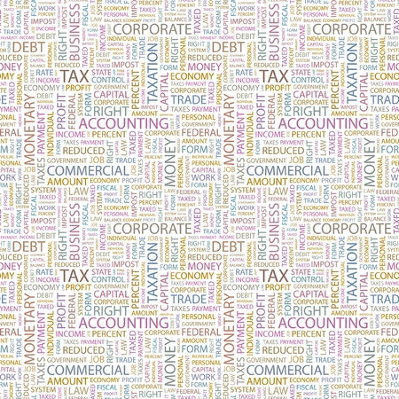 TAX. Seamless vector pattern with word cloud. Illustration with different association terms.