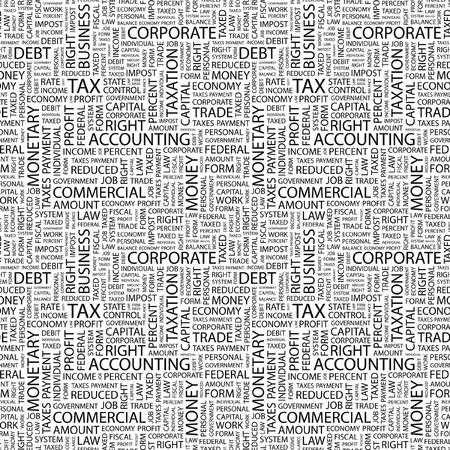 impost: TAX. Seamless vector pattern with word cloud. Illustration with different association terms.   Illustration
