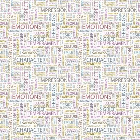 temperamento: EMOCIONES. Patr�n de vector transparente con nubes de palabra. Ilustraci�n con t�rminos de asociaci�n diferente.