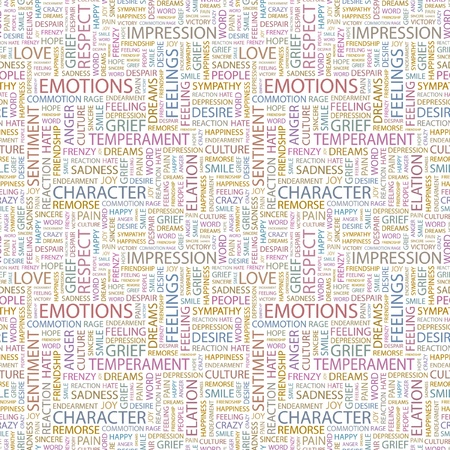 EMOTIONS. Seamless vector pattern with word cloud. Illustration with different association terms.   Vector