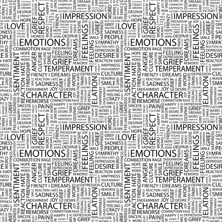 commotion: EMOTIONS. Seamless vector pattern with word cloud. Illustration with different association terms.   Illustration