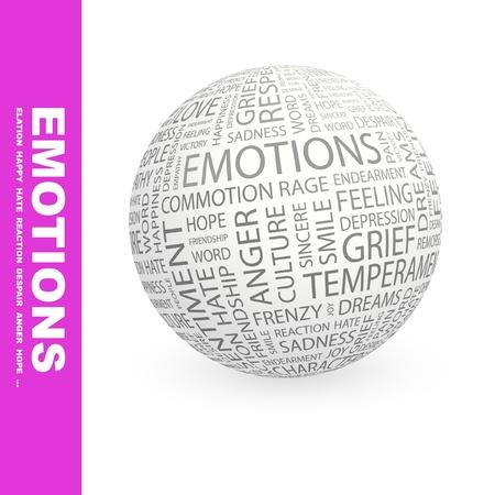 temperamento: EMOCIONES. Globo con t�rminos de asociaci�n diferente. Ilustraci�n vectorial de Wordcloud.