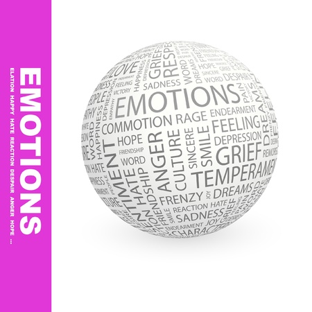 EMOTIONS. Globe with different association terms. Wordcloud vector illustration.