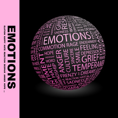 commotion: EMOTIONS. Globe with different association terms. Wordcloud vector illustration.