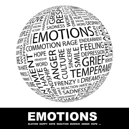 emo��es: EMOTIONS. Globe with different association terms. Wordcloud vector illustration.
