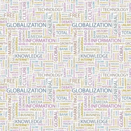 transnational: GLOBALIZATION. Seamless vector pattern with word cloud. Illustration with different association terms.