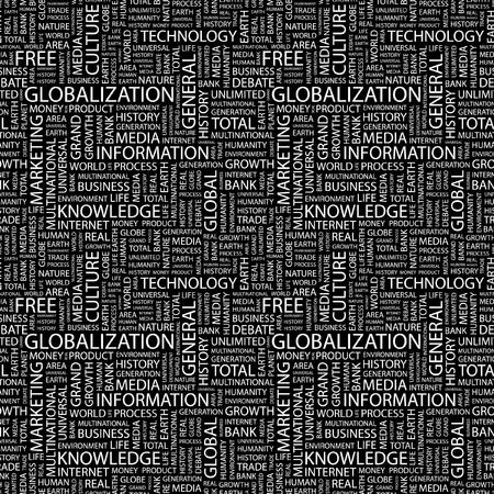 GLOBALIZACIÓN. Patrón de vector transparente con nubes de palabra. Ilustración con términos de asociación diferente.