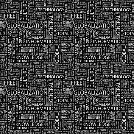 GLOBALIZATION. Seamless vector pattern with word cloud. Illustration with different association terms.   Vector