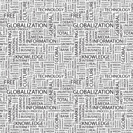 GLOBALIZATION. Seamless vector pattern with word cloud. Illustration with different association terms. Stock Vector - 9129626