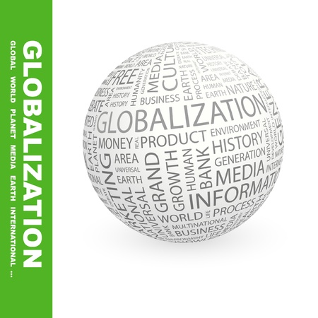 marketing mix: GLOBALIZATION. Globe with different association terms. Wordcloud vector illustration.