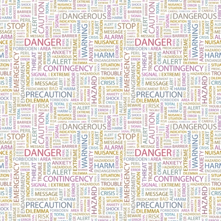 endangerment: DANGER. Seamless vector pattern with word cloud. Illustration with different association terms.