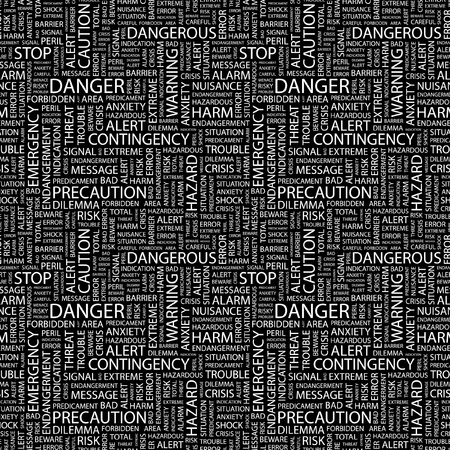 predicament: DANGER. Seamless vector pattern with word cloud. Illustration with different association terms.