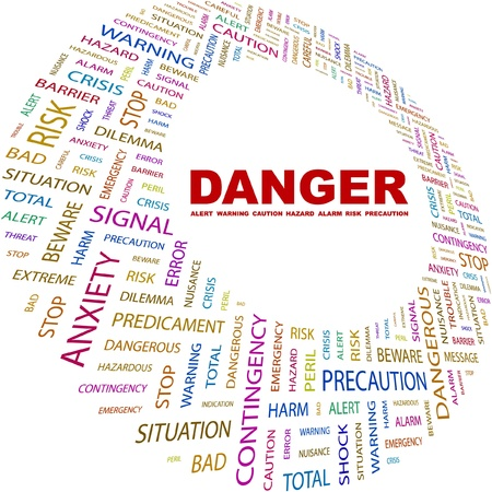 endangerment: DANGER. Word collage on white background. Vector illustration. Illustration with different association terms.    Illustration