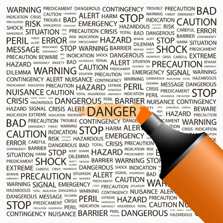 contingency: DANGER. Highlighter over background with different association terms. Vector illustration.