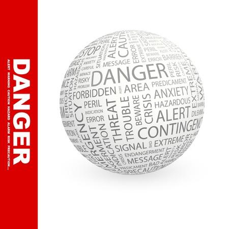 endangerment: DANGER. Globe with different association terms. Wordcloud vector illustration.
