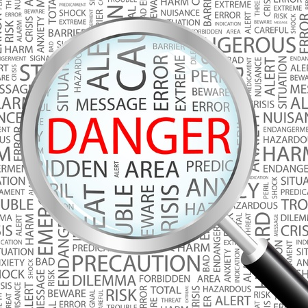 alerts: DANGER. Magnifying glass over background with different association terms. Vector illustration.