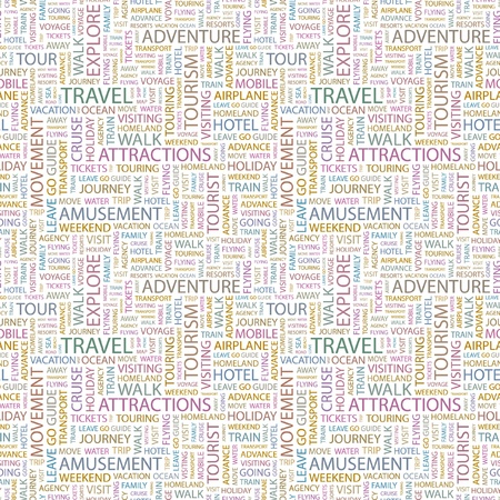 TRAVEL. Seamless vector pattern with word cloud. Illustration with different association terms. Stock Vector - 9033959