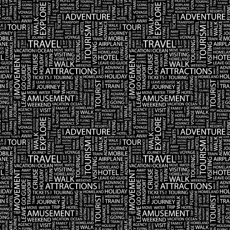passport background: TRAVEL. Seamless vector pattern with word cloud. Illustration with different association terms.
