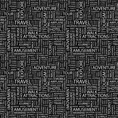 tour guide: VIAJES. Patr�n de vector transparente con la nube de la palabra. Ilustraci�n con t�rminos de asociaci�n diferente.