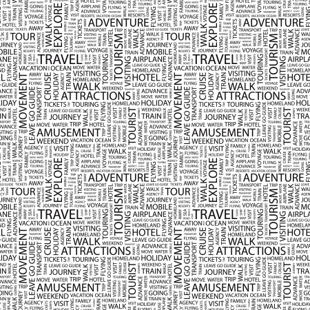 typography: TRAVEL. Seamless vector pattern with word cloud. Illustration with different association terms.