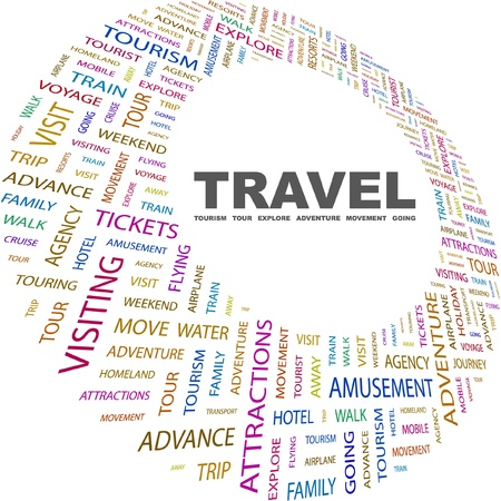 keywords backdrop: TRAVEL. Word collage on white background. Vector illustration. Illustration with different association terms.