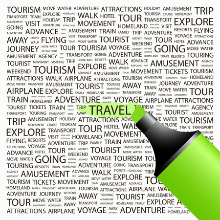 exploring: TRAVEL. Highlighter over background with different association terms. Vector illustration.