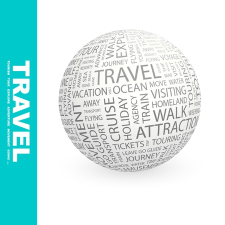 voyage: TRAVEL. Globe with different association terms. Wordcloud vector illustration.
