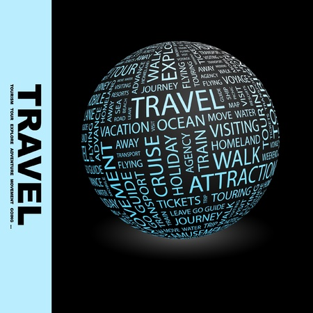 associations: TRAVEL. Globe with different association terms. Wordcloud vector illustration.