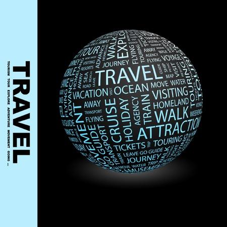 tour guide: VIAJES. Globo con t�rminos de asociaci�n diferente. Ilustraci�n vectorial de Wordcloud.