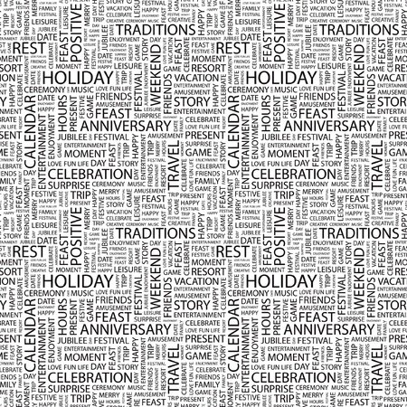 HOLIDAY. Seamless vector background. Wordcloud illustration. Illustration with different association terms.   Vector