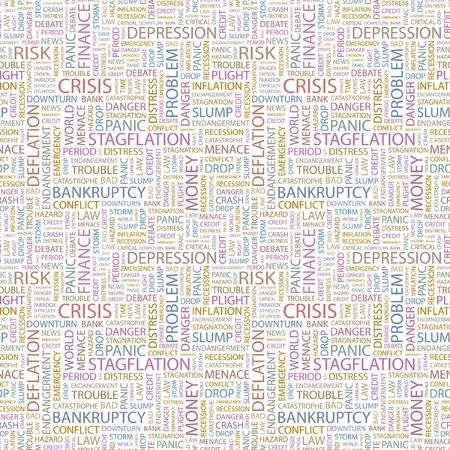 contingency: CRISIS. Seamless vector background. Wordcloud illustration. Illustration with different association terms.