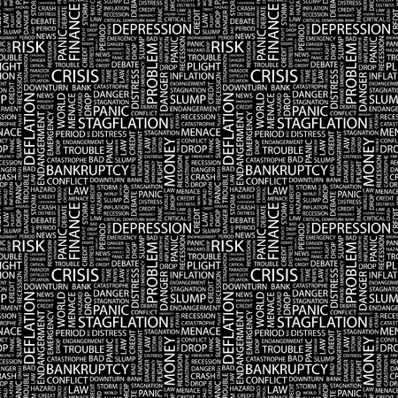 endangerment: CRISIS. Seamless vector pattern with word cloud. Illustration with different association terms.