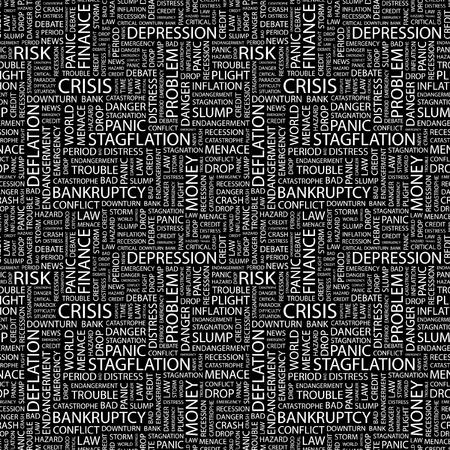 빚: CRISIS. Seamless vector pattern with word cloud. Illustration with different association terms.