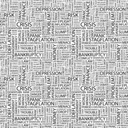 CRISIS. Seamless vector background. Wordcloud illustration. Illustration with different association terms.