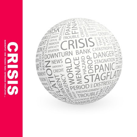 contingency: CRISIS. Globe with different association terms. Wordcloud vector illustration.   Illustration