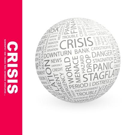 endangerment: CRISIS. Globe with different association terms. Wordcloud vector illustration.   Illustration