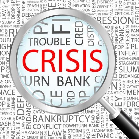 wirtschaftskrise: KRISE. Lupe gegen�ber dem Hintergrund mit verschiedenen Association Bedingungen. Vektor-Illustration.