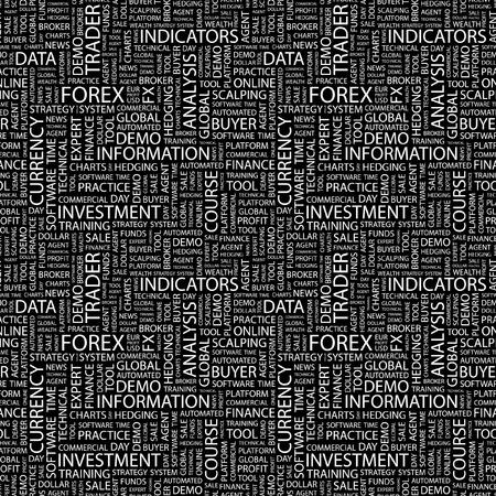 hedging: FOREX. Seamless vector pattern with word cloud. Illustration with different association terms.
