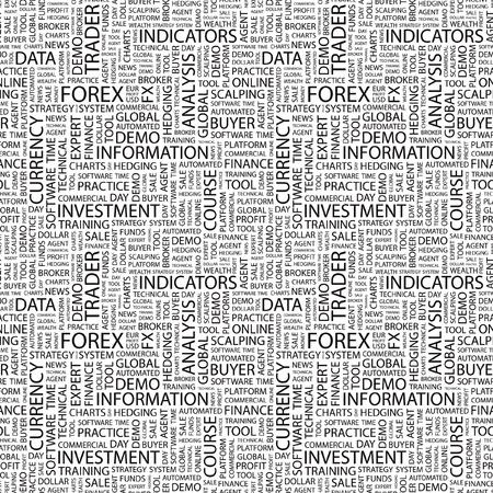 外国為替。単語の雲とのシームレスなベクター パターン。異なる協会規約のイラスト。