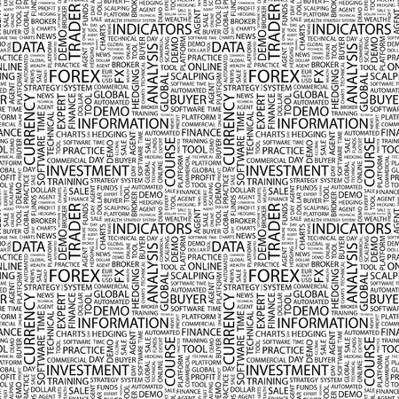 FOREX. Seamless vector pattern with word cloud. Illustration with different association terms.