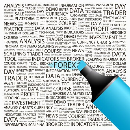 FOREX. Highlighter over background with different association terms. Vector illustration.