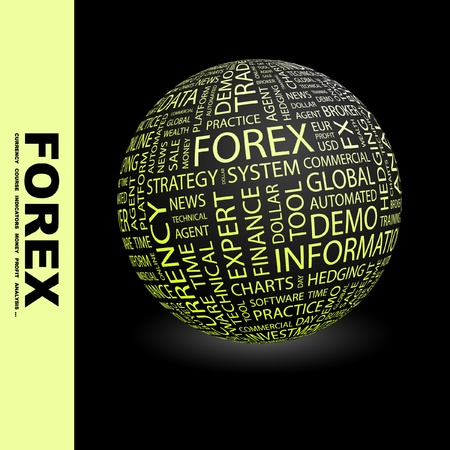 hedging: FOREX. Globe with different association terms. Wordcloud vector illustration.   Illustration
