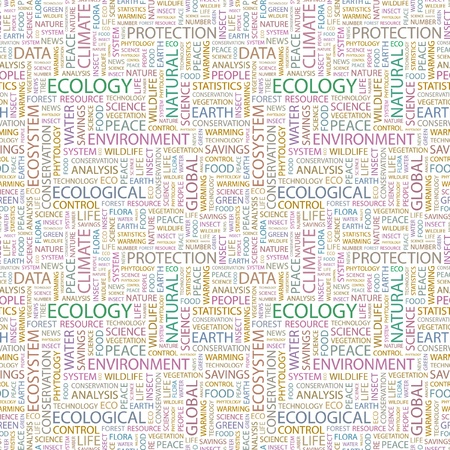 ECOLOGY. Seamless vector pattern with word cloud. Illustration with different association terms.   Vector